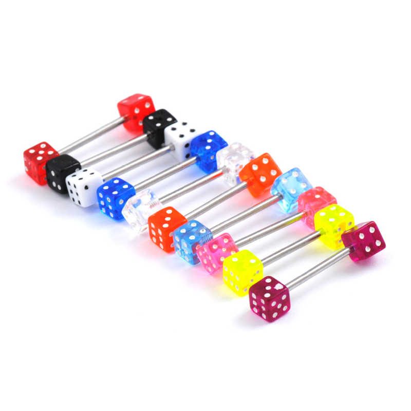 10pcs/Lot Fashion 316L Surgical Steel Acrylic Tongue Piercings Mix Dice Tounge Rings Bars Barbell Tongue Piercing Body Jewelry