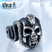 BEIER 2017 retro style stainless steel Vintage snake ring with red stone devil skull biker exquisite jewelry BR8-440