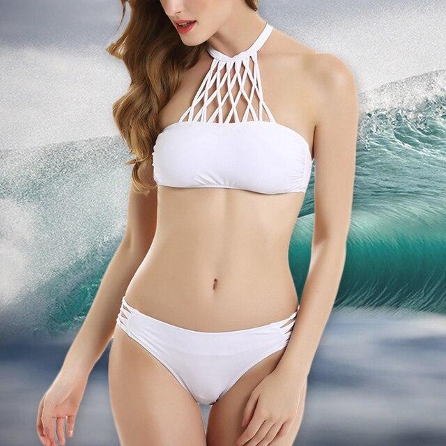 aa8eb6d4707775 Halter bikini top push meisjes badmode vrouwelijke hoge hals bikini set sexy  biquini padded badpak bandage