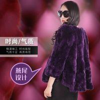 New autumn winter tails women's rex rabbit fur coat outerwear women short O neck full sleeve fur jacket plus size S 5XL g88102