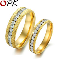 OPK Stainless Steel Couple Ring Fashion Wedding Unique Setting Cubic Zirconia Rings For Women Men Wedding Luxury GJ362
