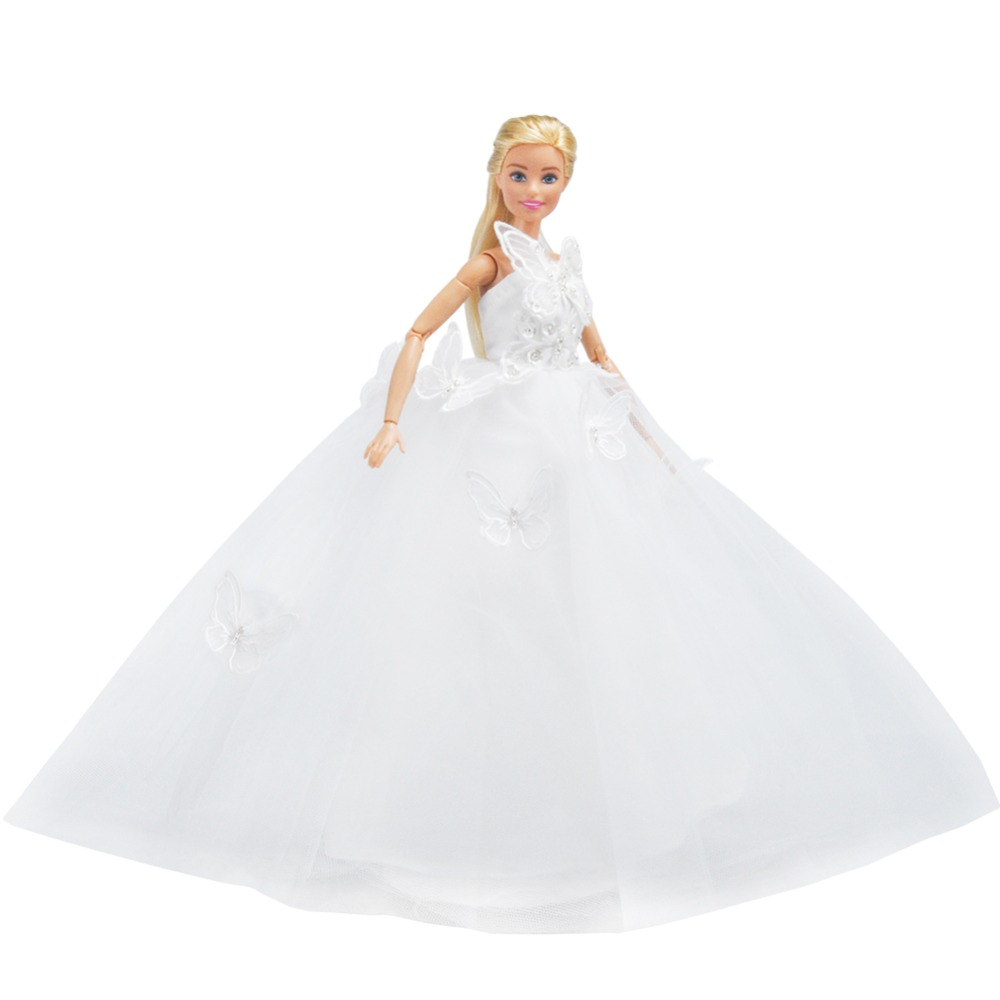 E-TING White Butterfly Gown Tulle Princess Garments Celebration Robe for Barbie Doll
