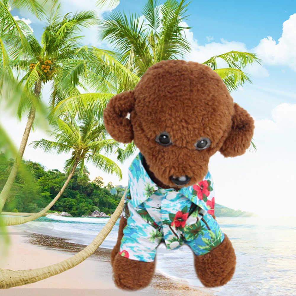 2019 Летняя Пляжная рубашка с цветочным принтом для домашних животных, гавайская пляжная Повседневная рубашка туристическая одежда с изображением ананаса, фламинго, кошки, чихуахуа
