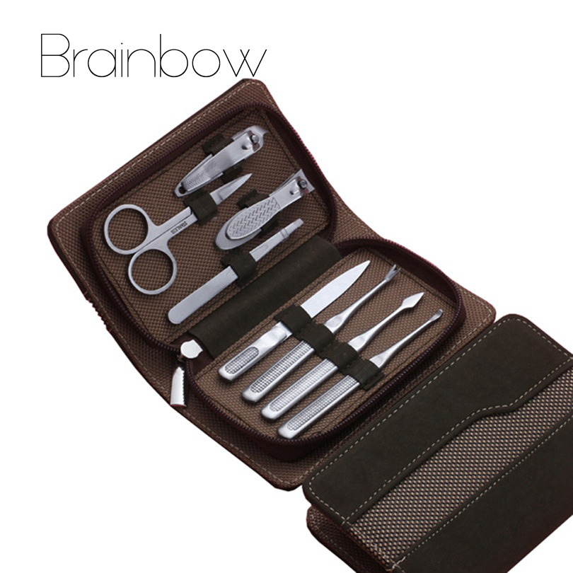 8pcs Brown Manicure Set, Pedicure Scissor Tweezer Knife Ear pick Utility Nail Clipper Kit, Stainless steel Nail Care Tool Sets arieslibra 10pcs silver stainless steel nail cuticle scissor manicure pedicure tools kits double fork dead skin scissor