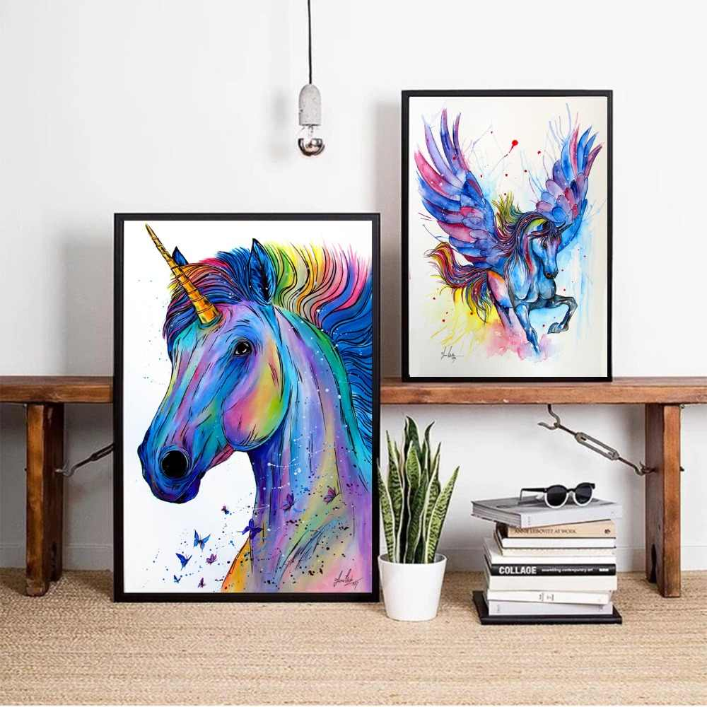 Colorful Unicorn Watercolor Canvas Art Print Painting Poster Wall Pictures For Room Home Decorative Bedroom Decor No Frame
