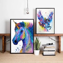 Colorful Unicorn Watercolor Canvas Art Print Painting Poster Wall Pictures For Room Home Decorative Bedroom Decor No Frame(China)