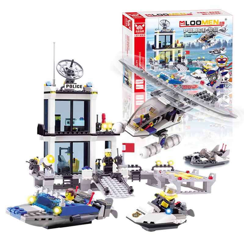 New year gifts Building Blocks bus Police Station truck City Plane ship Motorcycle Kids  ...