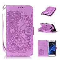 Emboss Rose Leather Wallet Flip Cover For Samsung Galaxy S2 S3 S4 S5 Mini S6 S7