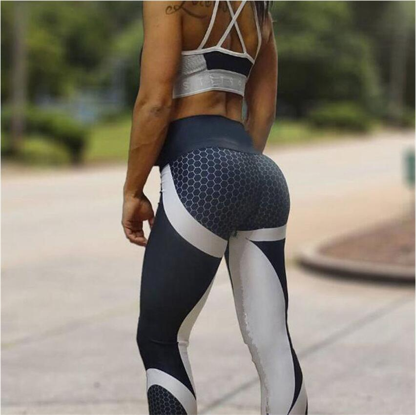 Mesh Pattern Print Leggings fitness Leggings For Women Sporting Workout Leggings Elastic Slim Black White Pants