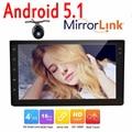 Android5.1 Double 2 din autoradio navegação GPS video player do carro Android 2 din áudio estéreo do carro espelho da tela de toque elo + câmera