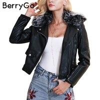 BerryGo Fashion Fur Collar Basic Jacket Coat Outerwear Coats Black Faux Leather Coat Female Streetwear PU