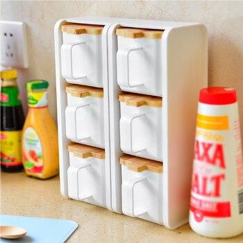 Spice Jar pudełko do przypraw z tworzywa sztucznego sól pieprz kuchnia kminek proszek butelka do przechowywania przezroczysty stojak zestaw pojemników narzędzia