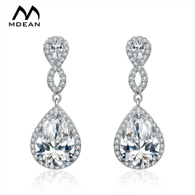 MDEAN White Gold Plated Drop Earrings For Women AAA Zircon Pendientes Mujer Moda Jewelry Boucle D