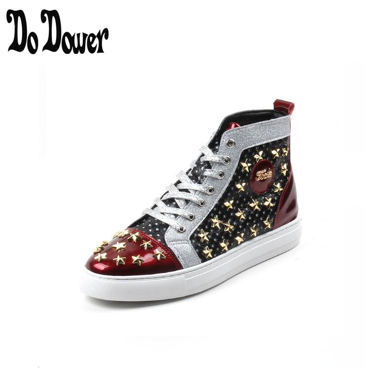 2019 Men brand designer rivet American flag shoes Causal Flats Moccasins Male High Top Rock hip hop mixed color shoes For Man