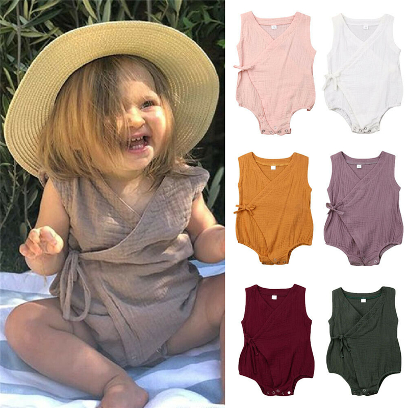 Vintage Newborn Infant Baby Girl Clothing Cotton Baby Girl   Rompers   Jumpsuit Summer Sleeveless Lace Up Baby Girl Costumes 0-18M