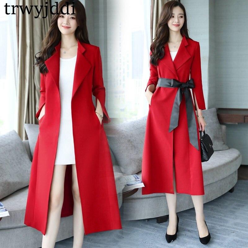 2018 Spring Autumn New Fashion Women Long Trench Coat British Lady