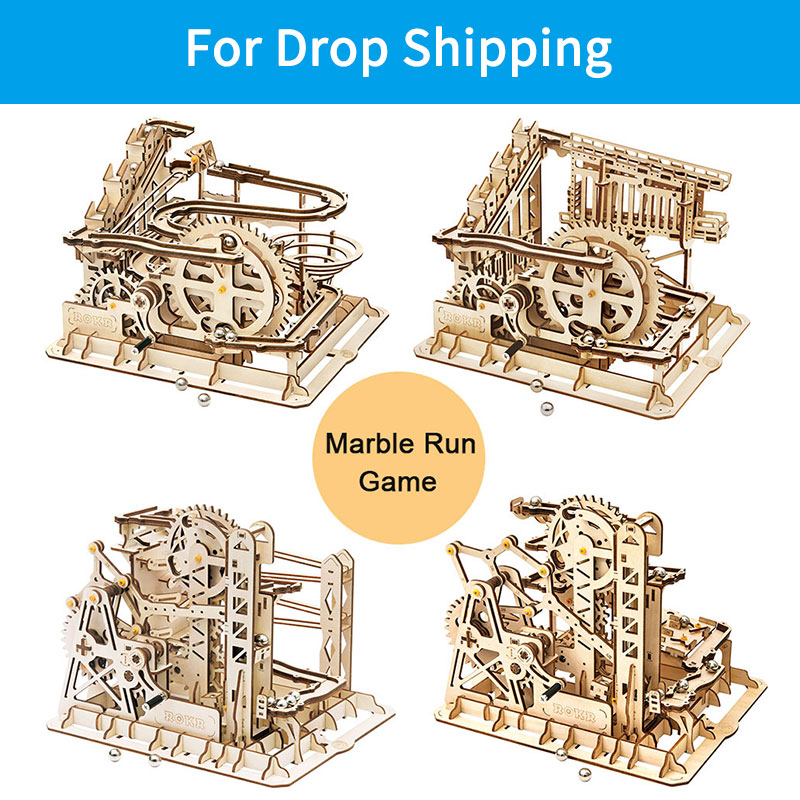 For Drop Shipping ROKR DIY 3D Wooden Puzzle Marble Run Game Mechanical Gear Drive Coaster Model