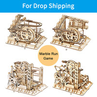 For Drop Shipping ROKR DIY 3D Wooden Puzzle Marble Run Game Mechanical Gear Drive Coaster Model Building Kits Toys For Kids