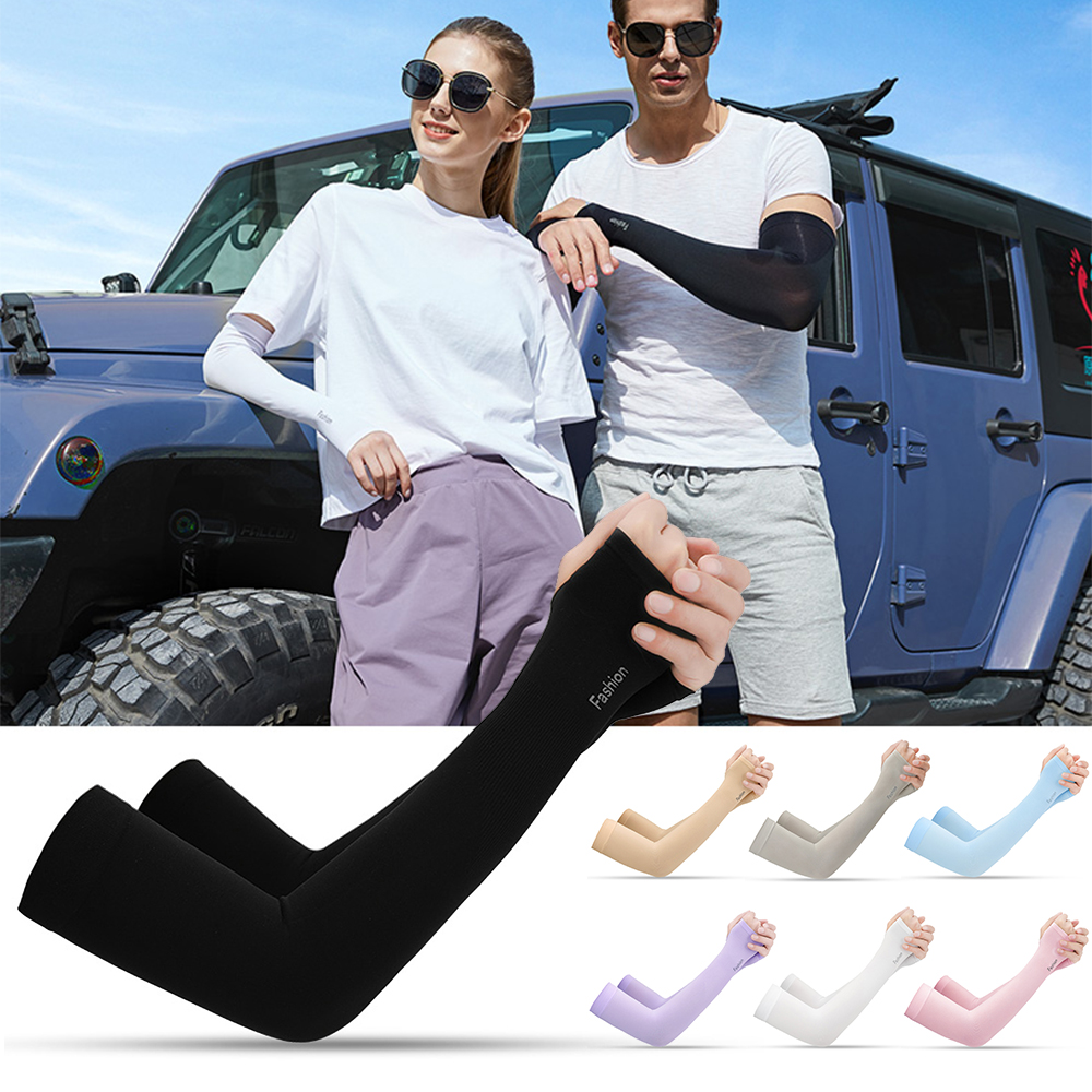 1 Pair Cooling Arm Sleeves UV Protective Absorbent Arm Cover Outdoor Cycling Driving Running Golf Men Women