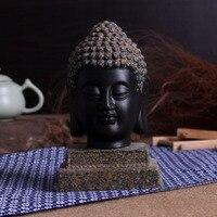 Black Buddhism Adornment Statue Tathagata India Yoga Mandala Buddha Sculptures Ceramic Craft Home Decoration Accessories