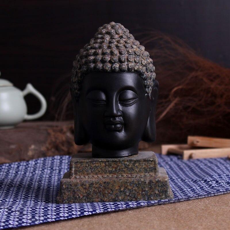 Bouddhisme noir ornement Statue Tathagata inde Yoga Mandala bouddha Sculptures en céramique artisanat décoration de la maison accessoires
