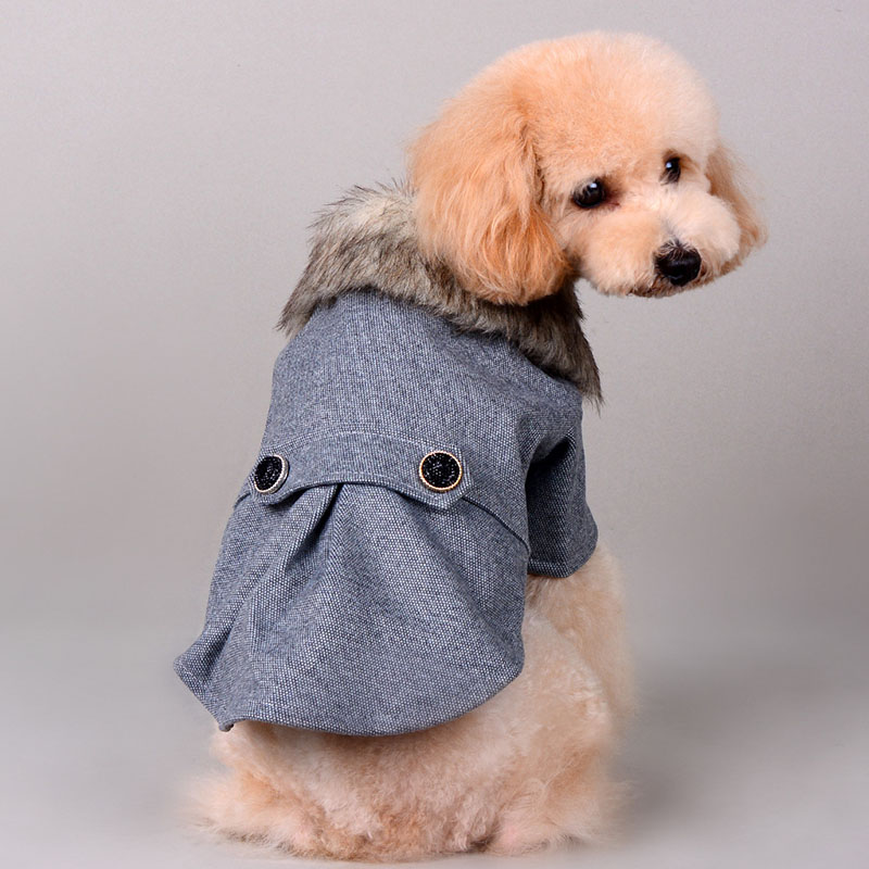 Luxury fur collar dog pet cat cotton padded jacket coates warm wool small dog wedding suit small dog poodel Chihuahua clothes