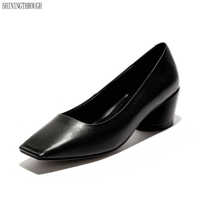 Bureau noir La Chaussures Marque Célèbre 12 Printemps 10 Bout Cuir Carré Grande En Pompes Sur Taille Talons 11 Beige Glissement Véritable Main Femmes marron Carrés À rrxSA8