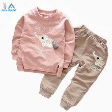 Enfants Vêtements 2016 Automne/Hiver Bébé Garçons Filles Éléphant de Bande Dessinée Coton Set Enfants Vêtements Ensembles Enfant T-Shirt + pantalon Costume