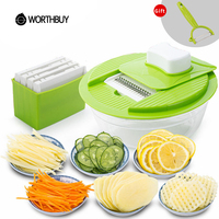 5 In 1 Multifunctional Plastic Vegetable Slicers Cutter With 5 Stainless Steel Blades Fruit Carrot Grater