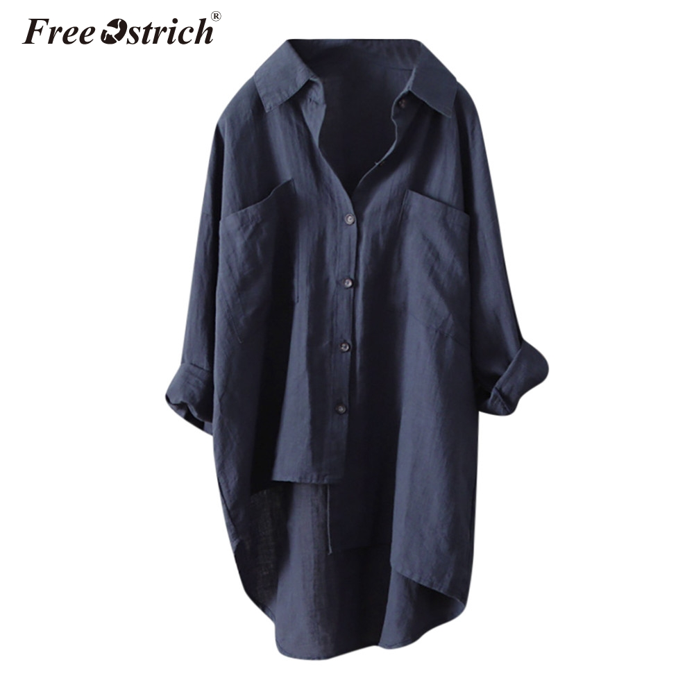 Free Ostrich Long Sleeve   Blouse     Shirts   Women Plus Size OL Long Tops Irregular Hem Buttons Loose Casual Vintage Tops female N30