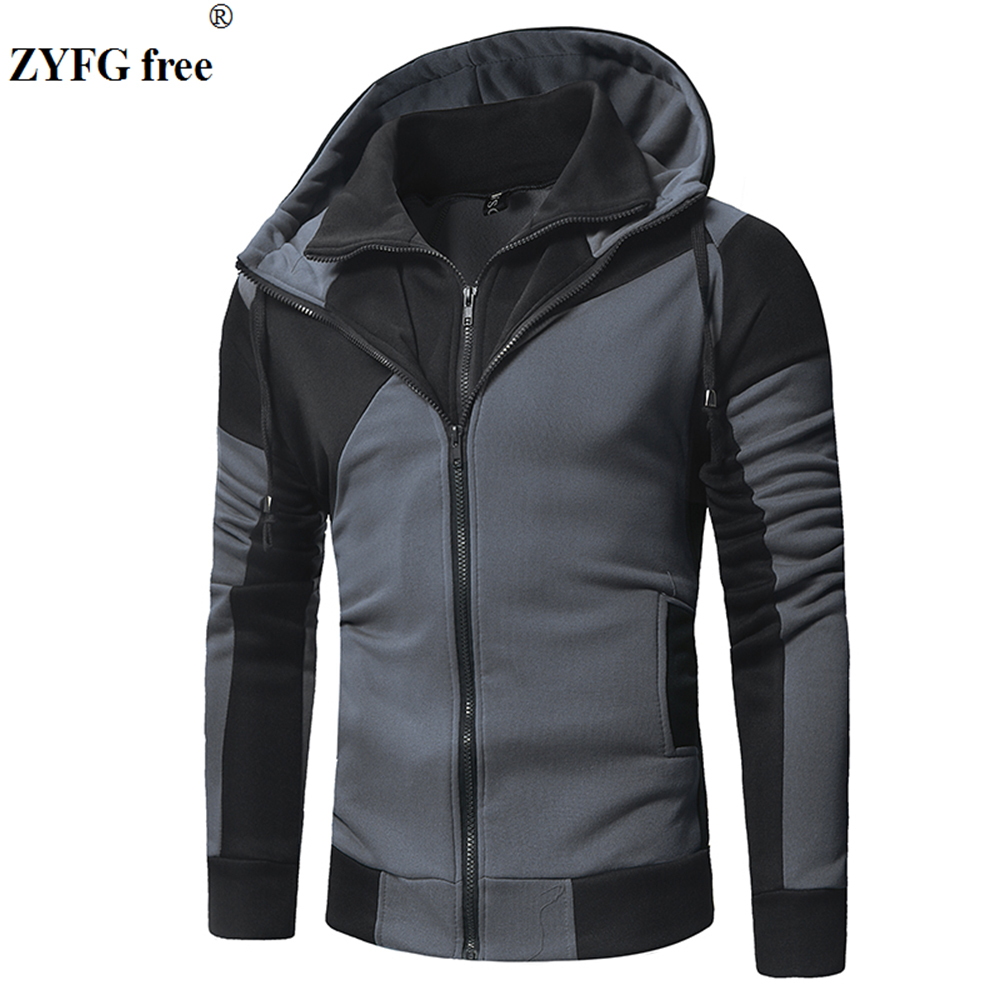 New mens casual tops hoodie personality color matching long-sleeved zipper decorative hooded popular male clothing