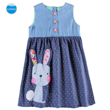 JUXINSU Summer Girls Denim Costume Casual sleeveless Dresses Cute Rabbit Wave Po