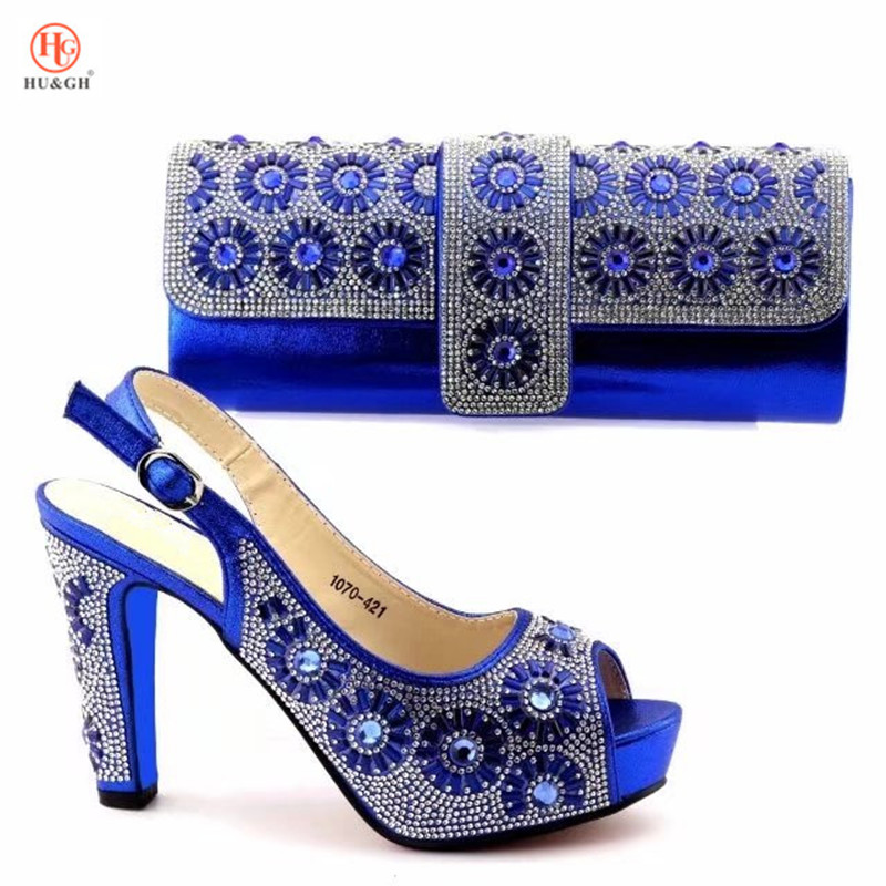 2018 New blue Italian Crystal wedding shoes with matching bags African woman Parties shoes and bag set fashion shoes women Pumps starline b64 2 can slave