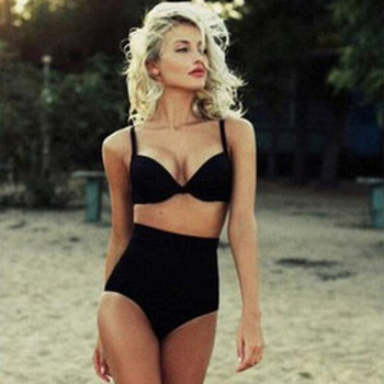 Bikinis High Waisted Women Swimsuit 2019 Summer Beach Bathing Suits Halter Top Push Up black Bikini Set Plus Size Swimwear S-XL
