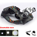Zoomable focus Cree XM-L T6 Led Headlamp Powerful Headlight Lamp Torch camping +AC wall charger Car  charger