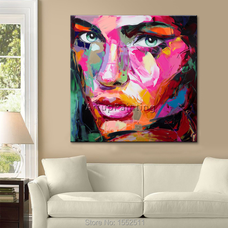 Face oil painting on canvas Francoise Nielly wall art pictures for living room heavy texture Palette knife caudros decoration in Painting Calligraphy from Home Garden