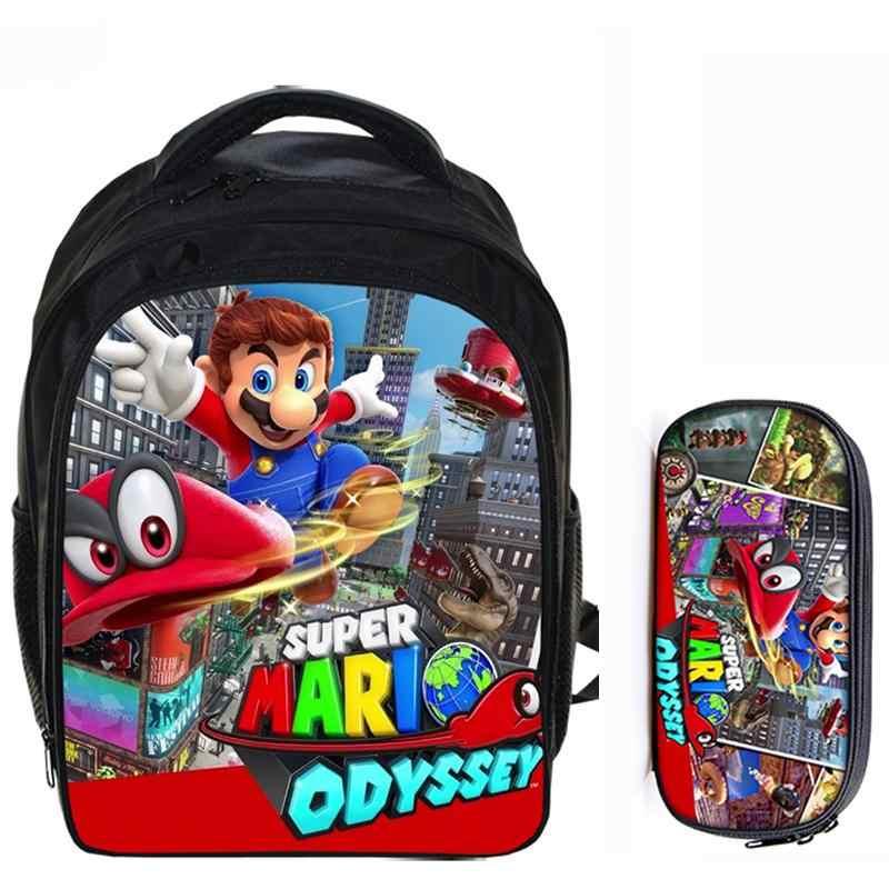 b02c0addc05e 13 Inch Super Mario Bros Sonic Boom Boys Girls School Backpacks Children  Bagpack Kids Cartoon Bags