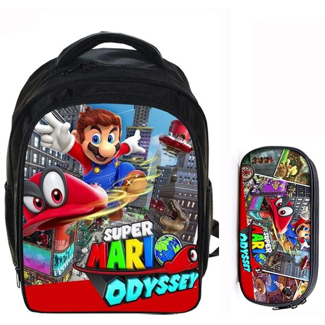 ea4efe6e08 13 Inch Super Mario Bros Sonic Boom Boys Girls School Backpacks Children  Bagpack Kids Cartoon Bags Mochila Pencil Bag Sets