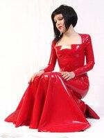 Sukienka Kobiety Lateksowe długie suknie na dziewczynę babie lato Sexy Party Suknie Vestidos Red Fashion Celibrity Plus Size Gorąca Sprzedaż