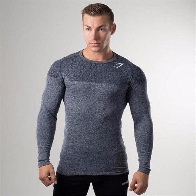 2017 brand clothing Новая весна высокой упругой хлопок футболки мужские с длинным рукавом тесная футболка Азии M-XXL