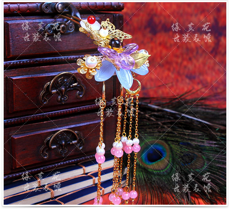 Die Lian Hua Butterfly Lover Flower Colored Flower Tassel Hair Stick Bride Wedding Hair Stick Photography Hair Accessory