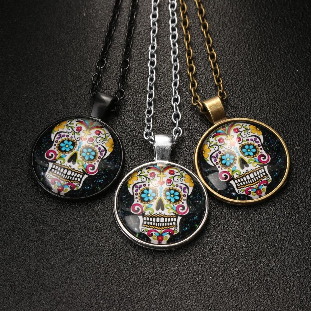 Vintage Cabochon Glass Necklace bronze charm chain pendants:sugar skull heart