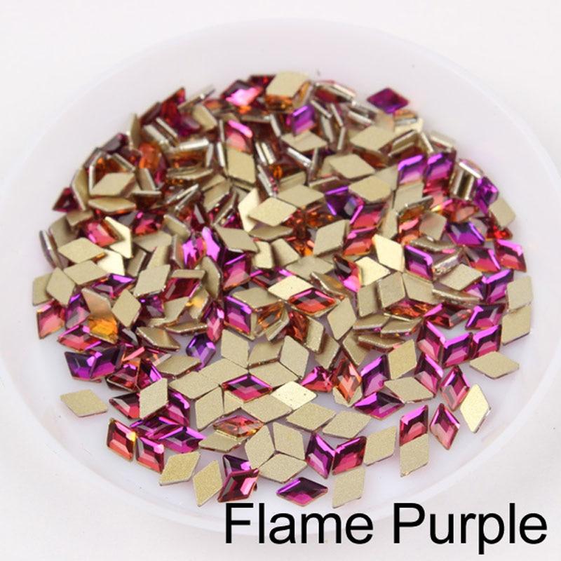 30/100 шт./лот ногтей Стразы 3x5 мм Flatback ромб с цветными камнями для 3D нейл-арта украшения - Цвет: Flame Purple