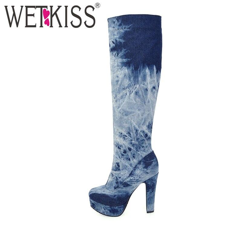 WETKISS Plus Size 33-50 Denim Knee Boots Woman Fashion Jeans Shoes for Women High Heels Platform Winter Boots Colored Zipper