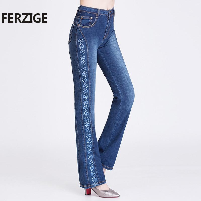 все цены на FERZIGE Women Jeans Embroidered Fashion High Waist Quality Denim Pants Flares Full Length Jeans Female Lady Bell Bottoms Push Up