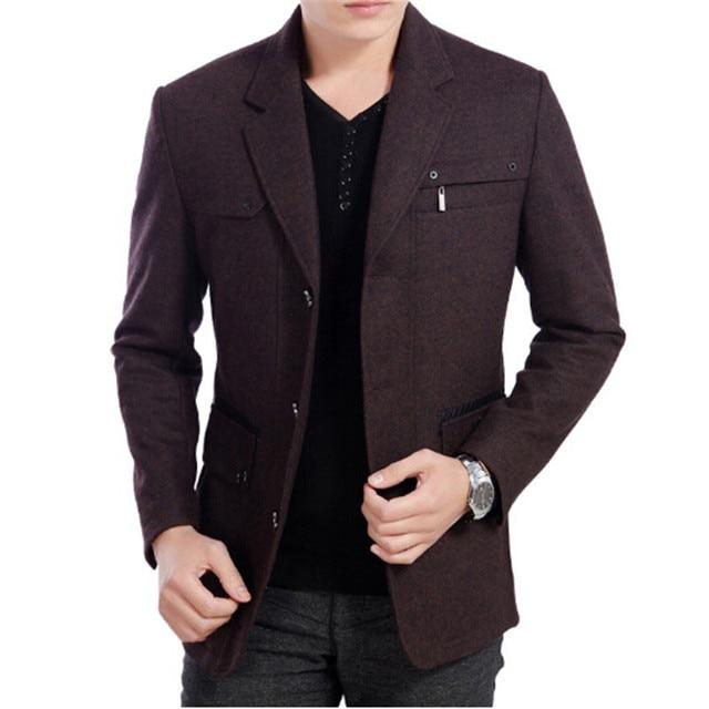 2016 High Quality New winter 50% Wool blend Blazer Men Casual Outwear Slim Party Business Men suit Black gray plus size XXXL 2