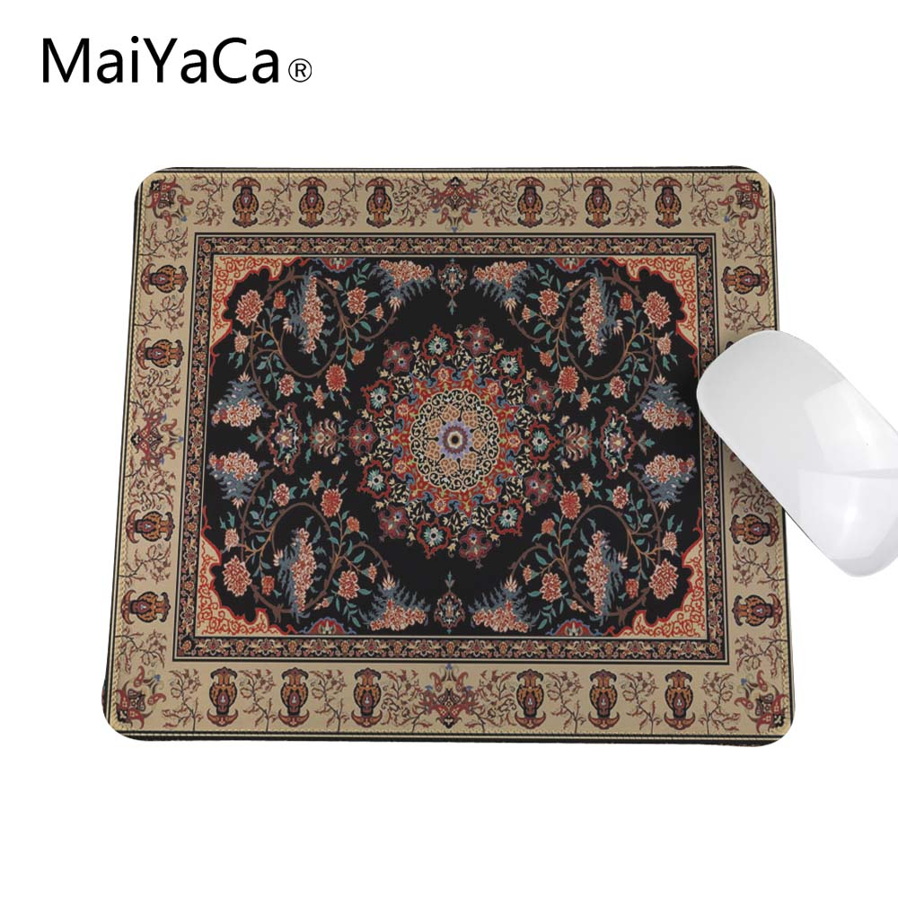 Black pattern Persian carpet Customized Rectangle Non-Slip Rubber printing Overlock Edge rubber durable mouse pad dhlship high power diy laser engrave module engraving laser module blue light 450nm diy steel mark 10000mw 10w blue laser module
