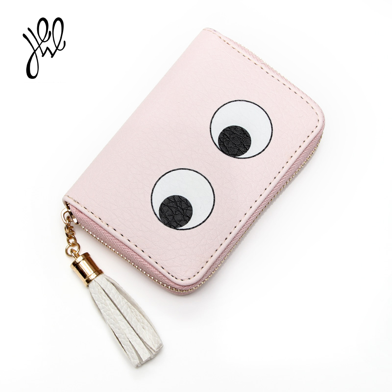 Lovely PU Eyes Women Wallets Small Purses Zipper Tassel Cute Mini Wallet For Girls Coin Card Holders Pink Short Wallet 500781