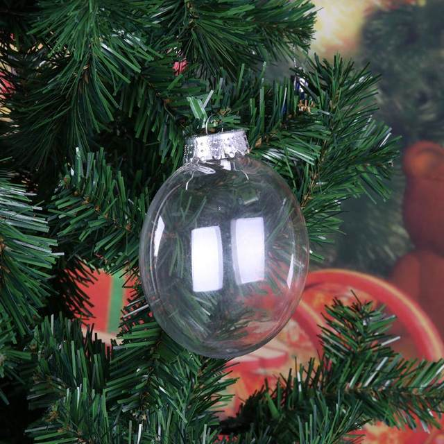 Online Shop 1PC PET Christmas Decor Clear Plastic Flat Ball ...