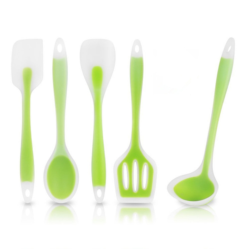 5pcs/set Kitchen Cooking Utensil Set Heat Resistant Cooking Tools including Spoon Turner Spatula Soup Ladle Color Green